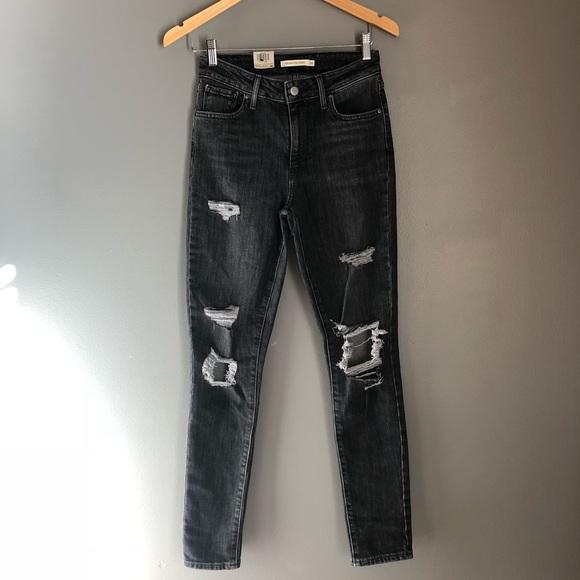 Levi's 721 High Rise Black Distressed Skinny Jeans